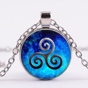 Jewelry - Blue Graphic Art Necklace